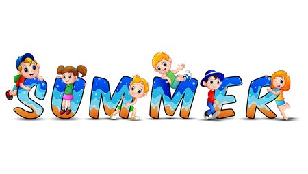 Word summer with happy kids Illustration