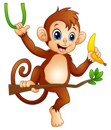 Cartoon monkey on a branch tree and holding banana.