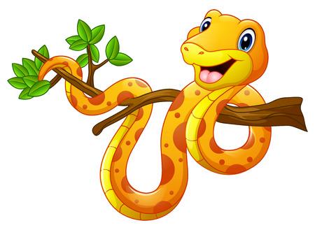 Cartoon Schlange auf einem Ast Standard-Bild - 76955382