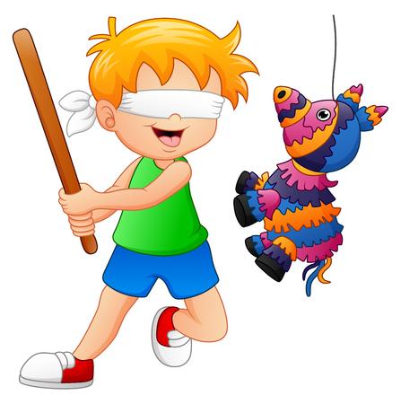Cartoon boy playing a pinata