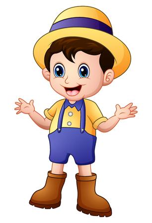 Cartoon young farmer waving