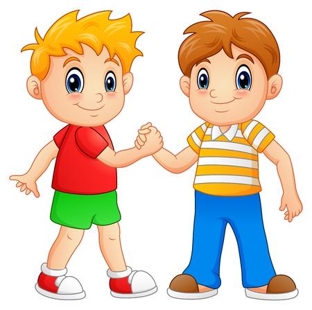 Cartoon little boys shaking hands Vectores