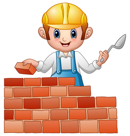 Cartoon man builder