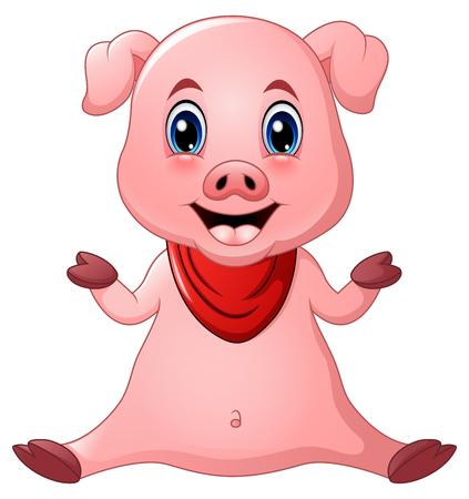 Seduta di cartone animato carino maiale Vettoriali