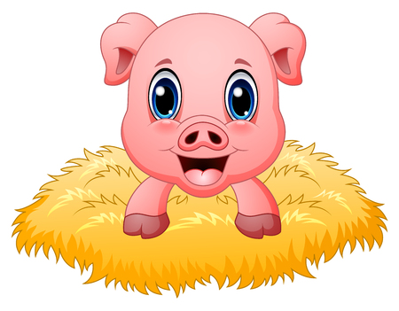 Cute pig cartoon in the nest Stock Photo