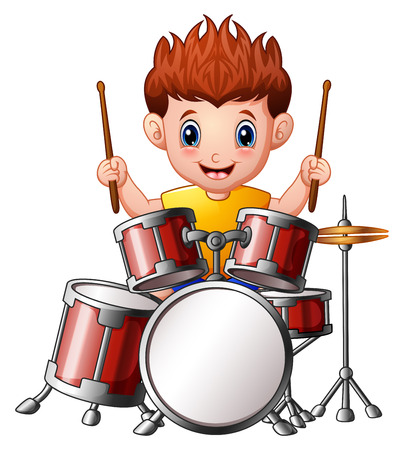 Vector Illustration of Cartoon boy playing a drums