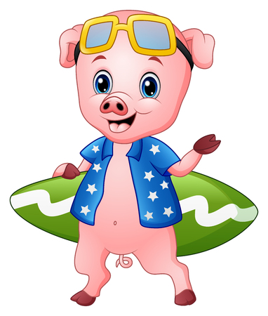 Vector Illustration of Smiling pig cartoon with surfboard