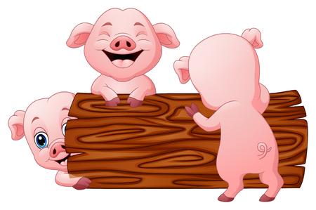 Vector Illustration of Three little pig cartoon in the log Illustration