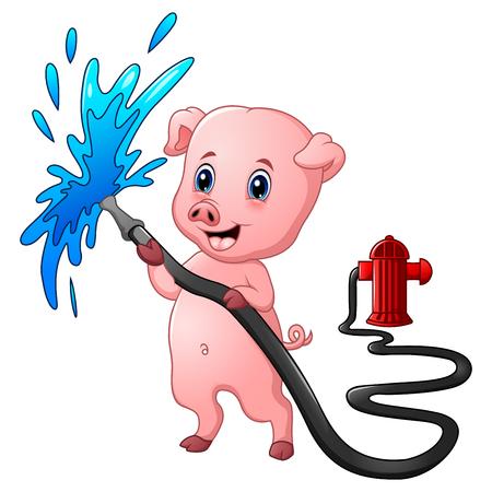 Ilustración vectorial de cerdo de dibujos animados con manguera rociadura de agua y boca de incendios