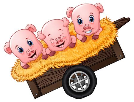 Vector Illustration of Three little pig cartoon on the cart