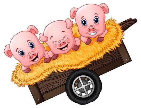 three little pigs: Vector Illustration of Three little pig cartoon on the cart