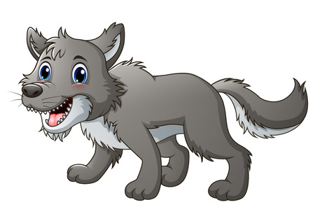 alaskan: Vector illustration of Smiling wolf cartoon