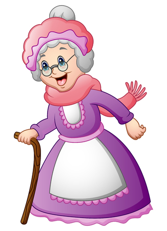Vector illustration of Old woman with walking a stick