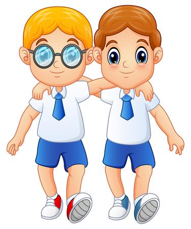 Vector illustration of Cute schoolboys in a school uniform Illustration