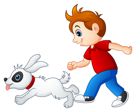 Vector illustration of Cartoon boy playing with his pet