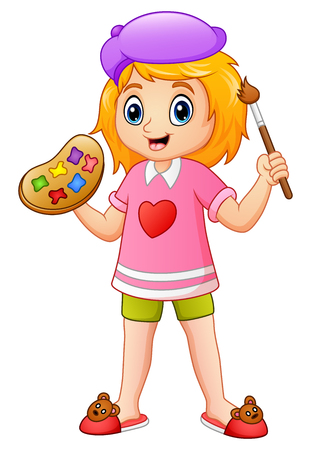 Vector illustration of Cartoon little girl painting