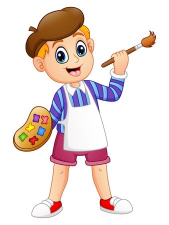 Vector illustration of Cartoon little boy painting Illustration