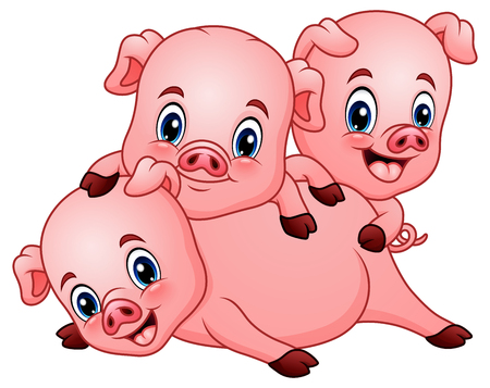 Drie kleine varkens cartoon Stockfoto