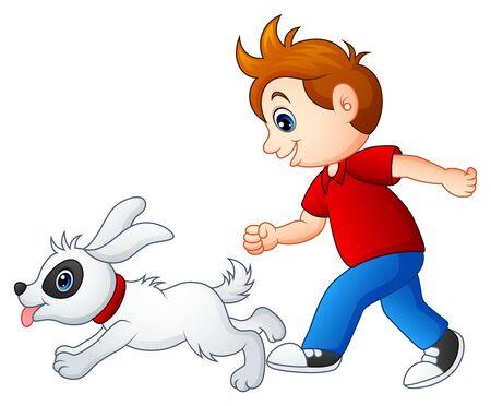 dog school: Cartoon boy playing with his pet Stock Photo