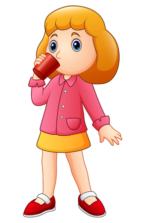 Vector illustration of Cartoon girl drinking from a cup