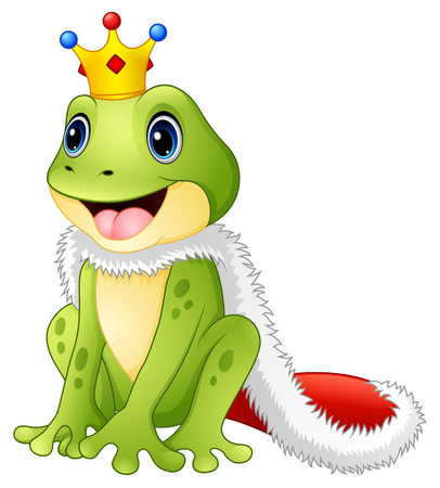 Vector illustration of Cute king frog cartoon