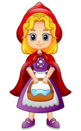 Vector illustration of Cartoon little red riding hood