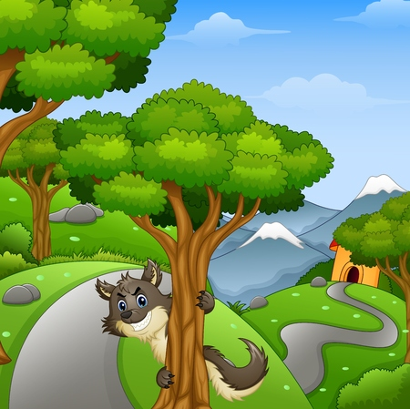 lurk: Vector illustration of Cartoon wolf lurking in the forest road