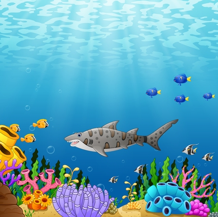 Vector illustration of Cartoon tropical shark fish with beautiful underwater world