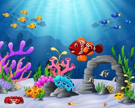美しい水中の世界を持つ漫画熱帯魚のベクトル イラスト