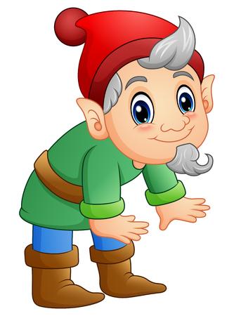 Vector illustration of Green dwarf cartoon posing Illustration