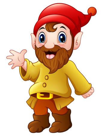 Vector illustration of Cute dwarf cartoon waving