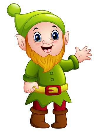 Vector illustration of Green dwarf cartoon waving