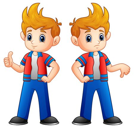 Cartoon boy showing thumbs up and down