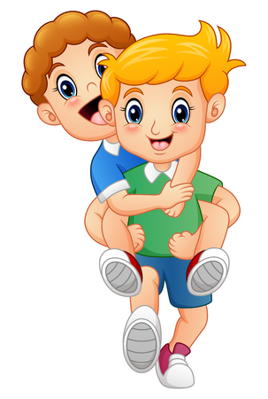 Cartoon blond boy giving his friend a piggyback ride Stok Fotoğraf - 77756848
