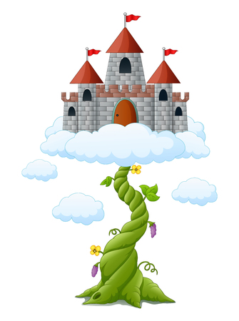 Cartoon bean sprout with castle in the clouds Foto de archivo