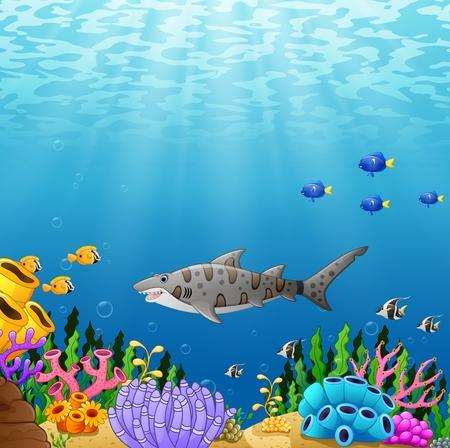 Cartoon tropical shark fish with beautiful underwater world Stock Photo