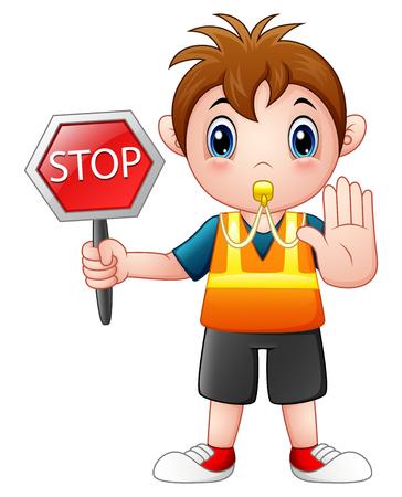 Ilustración de vector de niño de dibujos animados con un cartel de stop