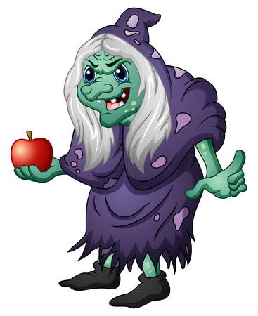 Vector illustration of Old evil witch holding an apple Stock Illustratie
