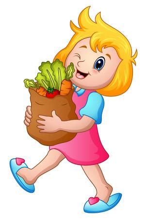Ilustración de vector de chica de dibujos animados con bolsa de papel de comestibles con verduras saludables Vectores