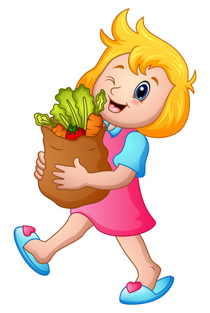 Vector illustration of Cartoon girl holding paper bag of groceries with healthy vegetables 向量圖像