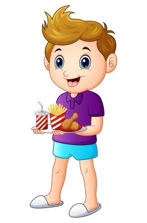 Vector illustration of Cartoon boy with a tray of fast food