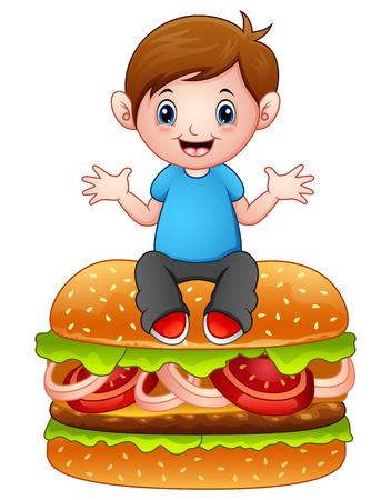 Ilustración vectorial de dibujos animados niño sentado en una hamburguesa grande