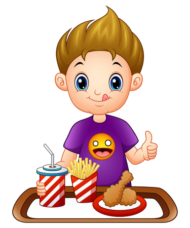 Vector illustration of Cartoon little boy with a fast food giving thumbs up