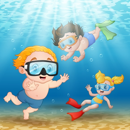 free diver: Vector illustration of Three kids swimming and diving underwater Illustration
