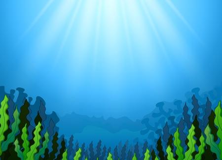 Underwater scene with seaweed Stock Photo