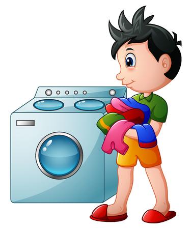 Muchacho que hace la colada con la lavadora Foto de archivo - 78420302