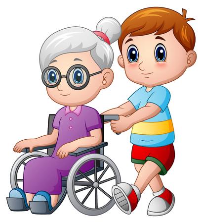 Ragazzo del fumetto con la nonna in sedia a rotelle Vettoriali