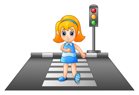 Cartoonkinderen die aan de overkant van de straat oversteken