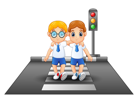 Cartoon schoolboys in a school uniform crossing the street