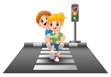 Cartoon kids running on crossing the street
